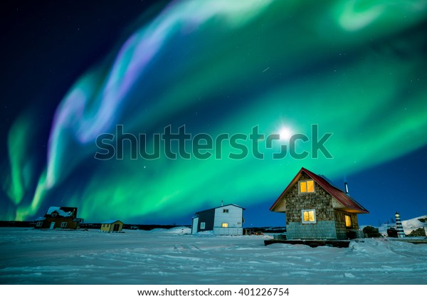 An amazing night display colorful aurora borealis at Great Slave Lake