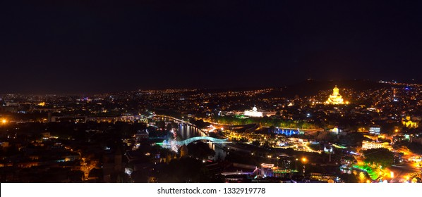 Amazing night panoramic cityscape of Georgian Capital old town, Tbilisi.