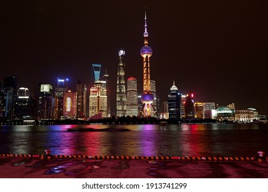 Amazing night Shanghai skyline and colorful lights, Pudong, China, Asia
