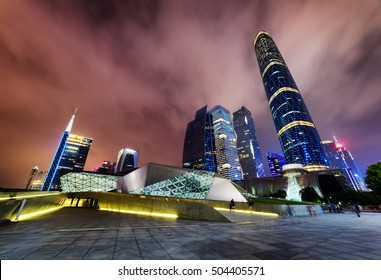 Amazing night view of the Guangzhou Opera House, skyscrapers and other modern buildings at the Zhujiang New Town (the Pearl River New Town) in Guangzhou, China. Beautiful cityscape.