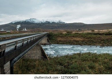 amazing Nordic nature, Iceland, bridge over flashy river