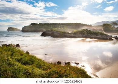 Amazing ocean beaches on Camino Norte in Asturias, Spain.