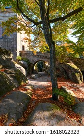 Amazing old church with bridge of Hvezda, Broumovske steny,  Adrspach rocks,  Czech republic - Shutterstock ID 1618022323