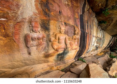 Amazing Old stone carvings  at Pha Mor E Daeng  Phra Wihan National Park. Sisaket province, Thailand,ASIA.Sculpture in stone cliff.