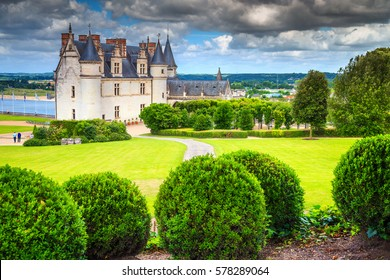 Amazing ornamental garden of Amboise castle in the Loire Valley, France, Europe