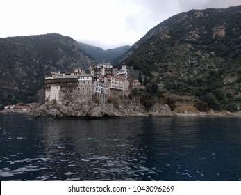 Amazing Osiou Gregoriou monastery by  the sea - Holy Mount Athos, Greece