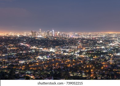 amazing overlook of los angeles city, california