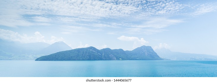 Amazing panorama of the Alps mountains and lake Lucerne. Switzerland.