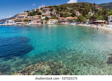 Amazing Panorama and beach of Assos village and beautiful sea bay, Kefalonia, Ionian islands, Greece