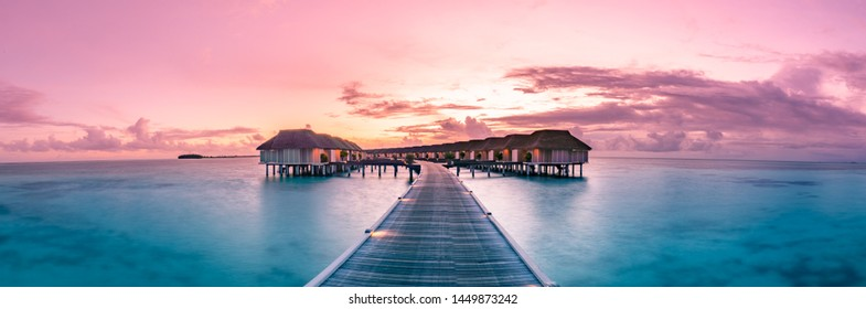 Amazing panorama beach landscape. Maldives sunset seascape view. Horizon with sea and sky. Tranquil scenery, tourism and travel banner. Summer  luxury resort landscape, vacation holiday island concept - Shutterstock ID 1449873242