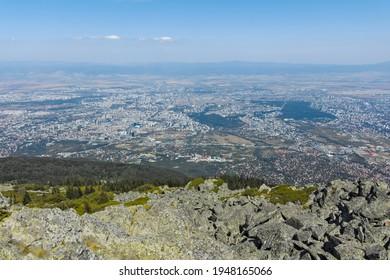 Amazing panorama of city of Sofia from Kamen Del Peak at Vitosha Mountain, Bulgaria - Shutterstock ID 1948165066