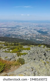 Amazing panorama of city of Sofia from Kamen Del Peak at Vitosha Mountain, Bulgaria - Shutterstock ID 1948165072