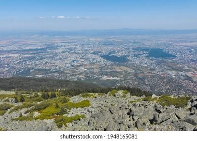Amazing panorama of city of Sofia from Kamen Del Peak at Vitosha Mountain, Bulgaria - Shutterstock ID 1948165081