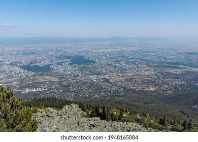 Amazing panorama of city of Sofia from Kamen Del Peak at Vitosha Mountain, Bulgaria - Shutterstock ID 1948165084