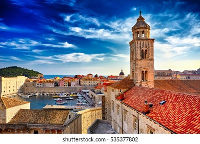 The Amazing panorama Dubrovnik Old Town roofs at sunset. Europe, Croatia