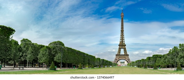 Amazing panorama of Eiffel Tower on Champs de Mars in Paris, France, no people, travel background pano