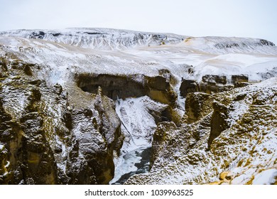 amazing panorama of fjadrargljufur cliff, iceland