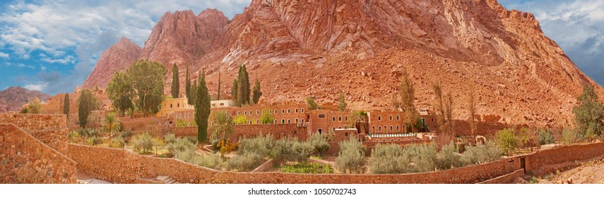 Amazing panorama of the Monastery of St. Catherine, Mount Moses, Sinai, Egypt