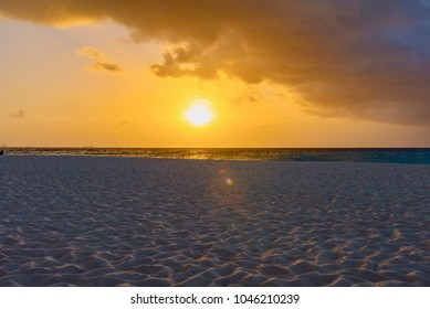 amazing panorama, paradise beach, with white sand and palm trees at sunset in the Caribbean island of Aruba