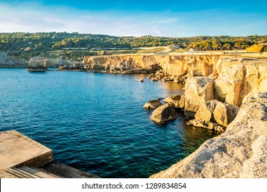 The amazing panorama of the sea with the rocks, in Porto Miggiano. Bleak and rocky landscape with a splendid view of the sea. Santa Cesarea Terme, Puglia, Salento, Italy.