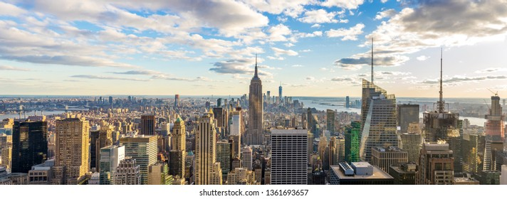 Amazing panorama view of  New York city skyline and skyscraper at sunlight in sunny day. Beautiful view in Midtown Manhatton, New York City, USA.