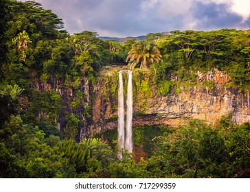 Amazing panorama of waterfall Chamarel seven coloured earths and jungle around it, Mauritius.