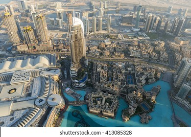 Amazing panoramic aerial view of Dubai city downtown in the United Arab Emirates in 2016