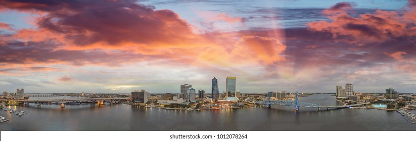 Amazing panoramic aerial view of Jacksonville skyline at dusk, Florida.