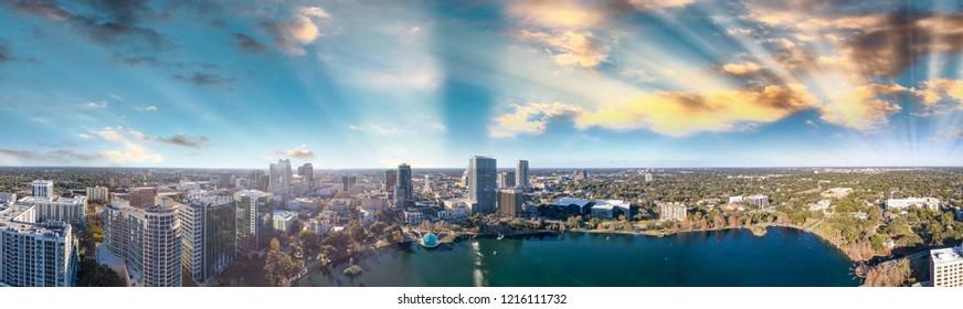Amazing panoramic aerial view of Orlando skyline at dusk, Florida.