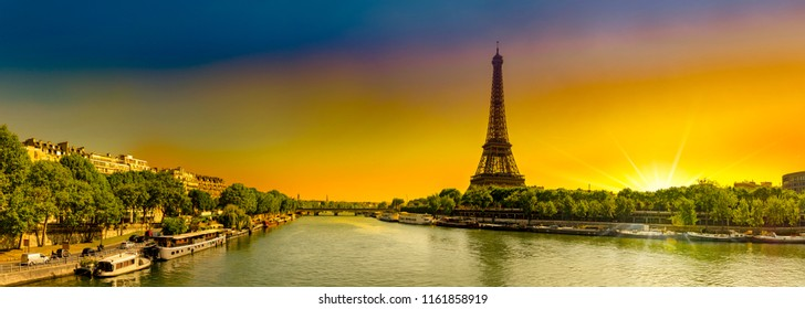Amazing panoramic image of sunrise at the Eiffel tower in spring in Paris, France