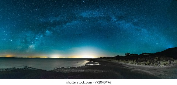 Amazing Panoramic Landscape view of a Milky Way at night sky