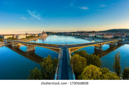 Amazing panoramic phot about the Margaret bridge in Budapest Hungary. Evening mood, popular touris attraction a river cruise in this time. panoramic view