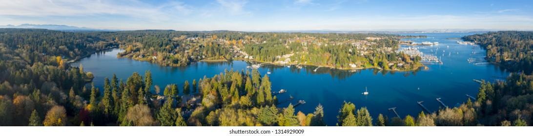 Amazing Panoramic View Bainbridge Island Kitsap County Washington Eagle Harbor Winslow Washington