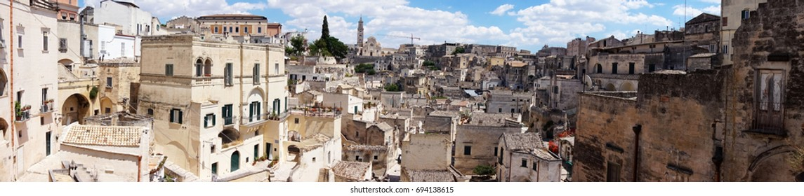 Amazing panoramic view from a balcony of typical stones (Sassi di Matera) and church of Matera UNESCO European Capital of Culture 2019 Matera, Basilicata, Italy