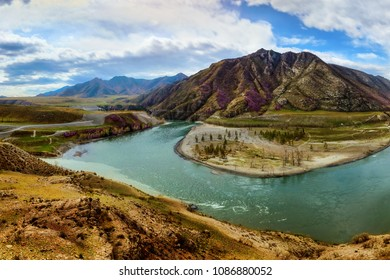Amazing panoramic view of confluence beautiful  mountain rivers Chuya & Katun. Photo wonderful picturesque popular highlands. Art image, peaceful Chuya-Katun valley, Gorny Altai, Siberia, Russia