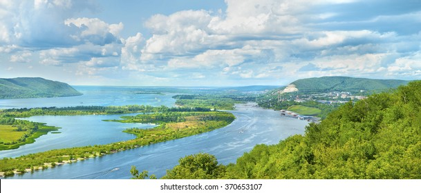 Amazing panoramic view from the height on the touristic part of the Volga river near Samara city at summer sunny day.Beautiful natural landscape.Picturesque central part of Russia.Europe.