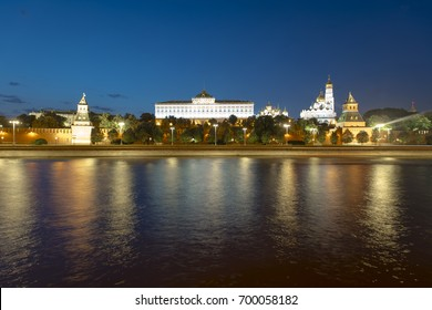Amazing panoramic view of historical part of Moscow in the evening in Russia
