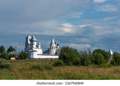 Amazing panoramic view of Nikitsky Monastery, Pereslavl-Zalessky, Russia. Male Orthodox monastery. The Golden Ring of Russia