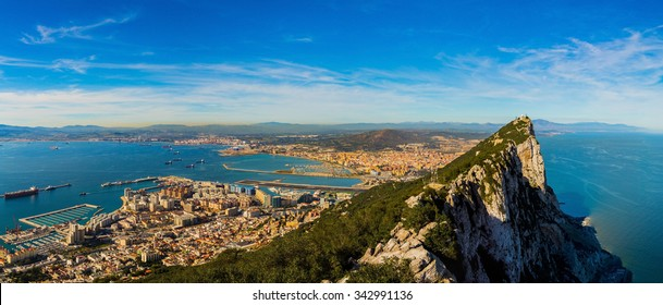 Amazing panoramic view on the rock of Gibraltar and the city around it