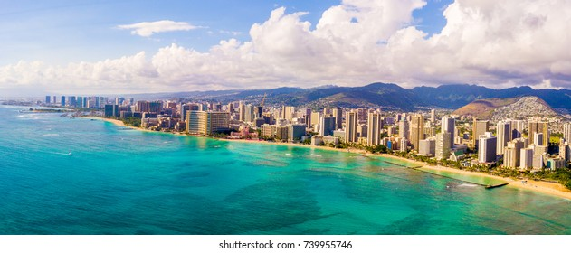 Amazing panoramic view on the Waikiki beach and Diamond head. Honolulu city aerial skyline view.