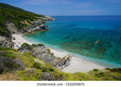 Amazing Parivoliou beach on Skopelos island in Greece, Europe on a sunny day of summer