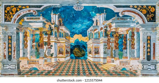 Amazing perspective mosaic in the Church of the Immaculate Conception (Chiesa dell'Immacolata Concezione al Capo) in Palermo. Sicily, Italy. July-06-2018