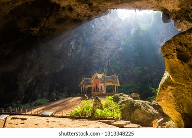 Amazing Phraya Nakhon cave in Khao Sam Roi Yot national park at Prachuap Khiri Khan Thailand is small temple in the sun rays in cave.
