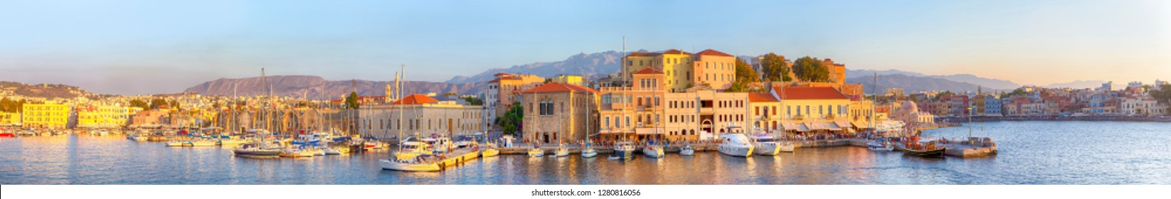 Amazing and Picturesque Old Center of Chania  Cityscape with Ancient Venetian Port in Crete, Greece.Panoramic Image composition
