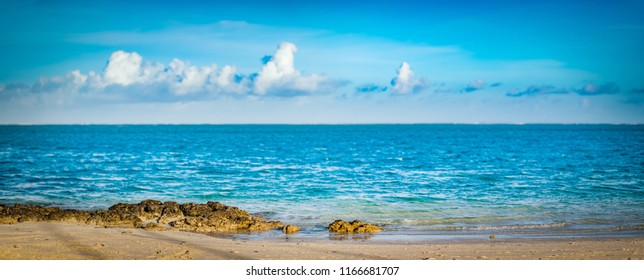 Amazing Pointe d'Esny beach on the South East Coast of Mauritius. Panorama