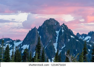 Amazing purple sky over mountain peak in Mount Rainier National Park