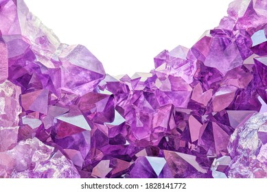 Amazing rare shape Violet Crystal Stone macro mineral surface. Purple rough Amethyst quartz Crystals geode on white background