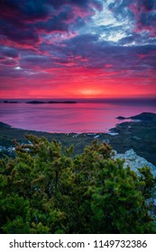 Amazing red and purple sunset in Australia, Mount Bishop in Wilsons prom