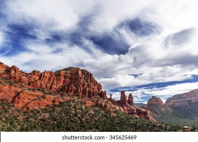 Amazing Red Rock Country near Sedona, Arizona. Displaying colorful sand & limestone rocks & cliffs, with blue sky & white clouds. Beautiful sunrises and sunsets. Unsurpassed Southwestern colors.