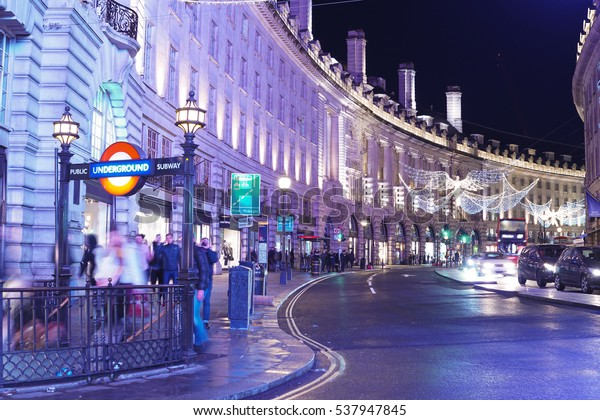 London At Christmas Time.Amazing Regent Street London Christmas Time Stock Photo
